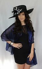 Dark Midnight Navy Blue Large Organza ball wrap Shawl Stole Evening Scarf Dance
