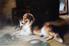 Collie with Kittens by Walter Hunt Vintage art
