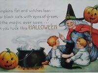 Whitney Halloween Postcard Gray Haired Witch Kids Black Cat JOL Original Vintage