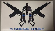 "In God We Trust ""Molon labe"" Decal/Sticker w/ Blue Lives Matter Overlay"