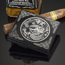 Carved Dragon Aluminum Metal Cigarette Case Card Holder For 20 Cigarettes Black