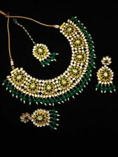 Bollywood Indian GREEN FASHION GOLD DESIGNER Traditional Necklace set For Women