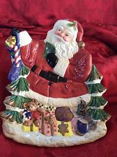 LoOk~ Fitz And Floyd Christmas Holiday Canapé Plate Santa Stocking Puppy Gifts