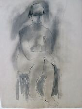 Nude Woman Sitting with Raised Foot Drawing-1956/60-August Mosca