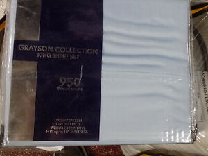 GRAYSON COLLECTION 950TC COTTON BLEND 4PC KING SIZE BLUE COLOR NIP