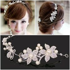 Shining Clear Rhinestone Faux Pearl Flower Party Bridal Headband Tiara Headwear