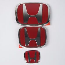 3pcs JDM Honda Front Rear Steering Wheel Red H Emblem 2006-2015 CIVIC 4 DR SEDAN