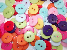 100 x 12mm ROUND RESIN BUTTONS - MIXED COLOURS - 2 HOLE