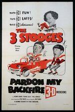 PARDON MY BACKFIRE THREE STOOGES MOE LARRY SHEMP 3-D 1953 1-SHEET