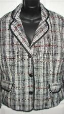 NWT $50 NOTATIONS Tweed Black White Red 3 Button Blazer Jacket Womens L Large