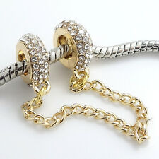 Gold 1pcs CZ European Charm Beads Fit 925 Necklace Bracelet Pendant Chain DIY