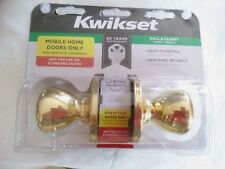 "Kwikset Mobile Home Hall or Closet 1""-1-3/8"" Door Knob Brass Tulip Passage"