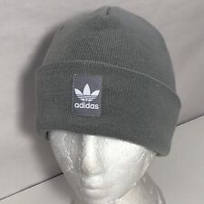 **Adidas Women's Originals Knit Logo Patch Cuff Beanie One Size Gray White