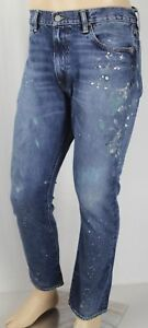 Polo Ralph Lauren Varick Slim Straight Distressed Paint Splatter Denim Jeans NWT