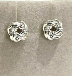 Sterling Silver Knot Earrings Stud Friendship Love 925