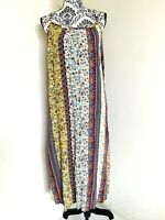 Handmade Floral Boho Size 12 Adjust Strap A Line Full Length Maxi Dress Rayon