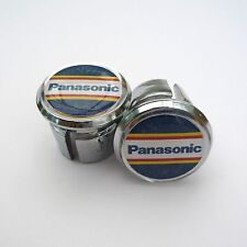 Vintage Style Team Panasonic Chrome Racing Bar Plugs, Caps, Repro