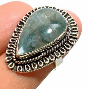 Indian Moss Agate 925 Sterling Silver Jewelry Ring Size- 6