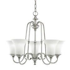 5 Light Northampton Chandelier, Antique Pewter With White Textured Glass