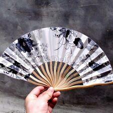 Chinese Hand Held Folding Silk Bamboo Flower Pattern Fan Wedding Party - Gray