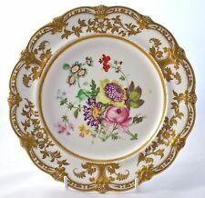 """ANTIQUE SIGNED *J. ROUSE* HAND PAINTED AND GILDED 8.5"""" FLORAL CABINET PLATE"""