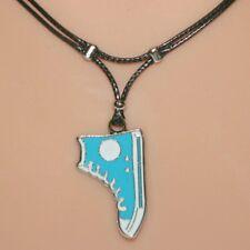 Collier pendentif basket bleu turquoise cordon base-ball baseball boot necklace