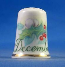 FINE PORCELAIN CHINA THIMBLE - FLOWER OF THE MONTH -- DECEMBER -- FREE GIFT BOX