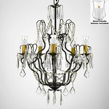 "Crystal Chandelier Lighting W/Candle Votives H27"" x W21""For Indoor/Outdoor Use!"