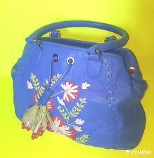 Fiore by Isabella Fiore Blue Floral Detail Handbag NWOT retails 595$