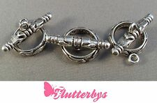 3 x Ornate Toggle and ring connectors / Clasps, Jewellery Making