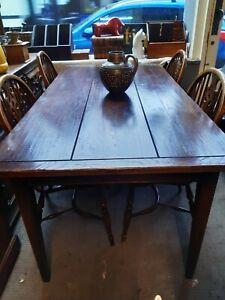 Oak Plank Top Farm House Table