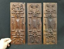 Set of 3 Matching Oak Wood Architectural Carvings