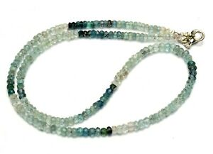 """Natural Gem Moss Aquamarine 3 to 4mm Size Faceted Rondelle Beads Necklace 17.5"""""""