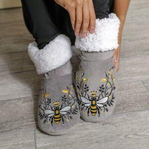 Faceplant Dreams Grey Queen Bee Print Design Fluffy Warm Booties Winter Medium