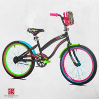 "Girls Bike 20"" Bicycle Tire Size Multi Color Rear Brakes BMX Style Handlebars US"