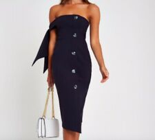 River Island One shoulder dress Navy Blue with button details