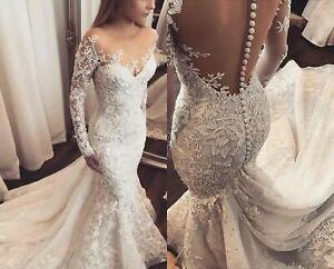 UK White Ivory Beaded Lace Long Sleeve Mermaid Sheer Back Wedding Dress Siz 6-18
