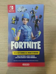Nintendo Switch Fortnite WILDCAT BUNDLE Code + 2,000 V-Bucks US * Code Only *