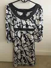 Portmans Women's Black White Silk Tie Up Dress - Size 10