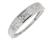 10K White Gold 5MM Wide Three Row Genuine Diamond Wedding Band Ring 0.20ct.