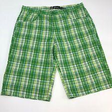 Blue Bermuda Shorts Men's Size 2XL Green White Tan Plaid Flat Front Walking