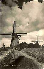 Kinderdijk Niederlande s/w Postkarte 1957 gelaufen Molens Blick auf Windmühlen