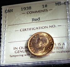 HIGH GRADE 1938 ONE CENT  ICCS GRADED