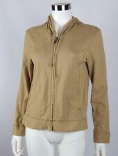 J Jill Women Jacket Brown 100% Cotton Long Sleeve Full Zip Lightweight Hoodie XS