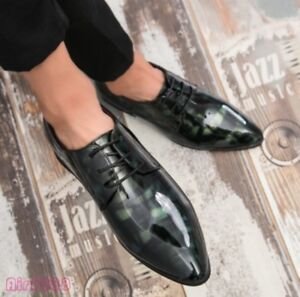 New Men's Shoes Pointy Toe Lace Up Patent Leather Oxfords Dress Shoes Fashion