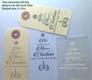 Christmas Tree Script Clear Rubber Stamp For Handmade Christmas Cards / Crafts