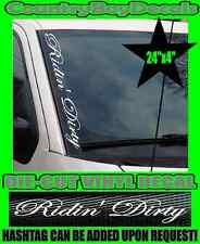 Ridin' Dirty VERTICAL Pillar Windshield Vinyl Decal Sticker Truck Boost Turbo