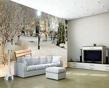 Winter Snow White Tree Plants Lamp Post Photo Wallpaper Mural Home Bedroom Deco