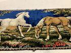 "Vintage Horses Velvet Tapestry Rug Wall Hanging 37x19"""