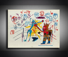 "Jean Michel Basquiat ""Boxing ring 1981"" HD print on canvas wall picture 36x24"""